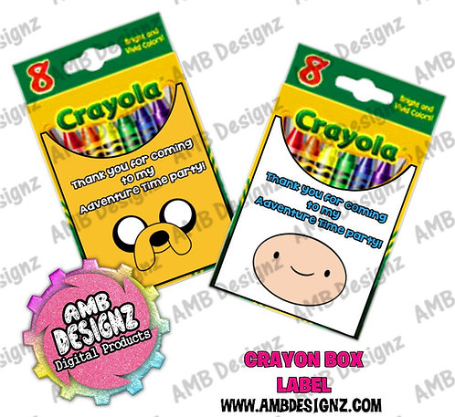 Adventure Time Crayon Box Label - Adventure Time Party Supplies