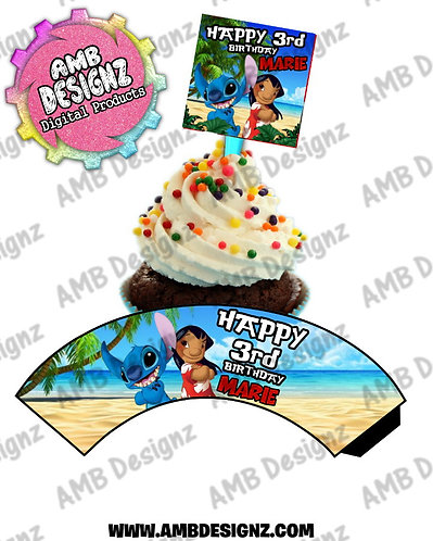 Lilo and Stitch Cupcake Topper and wrapper - Lilo and Stitch Party Supplies