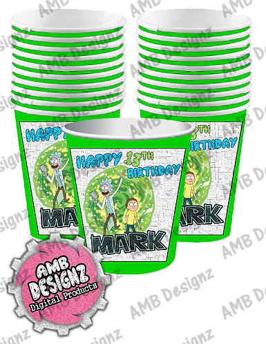 Rick & Morty Party Cups - Rick & Mortye Party Supplies