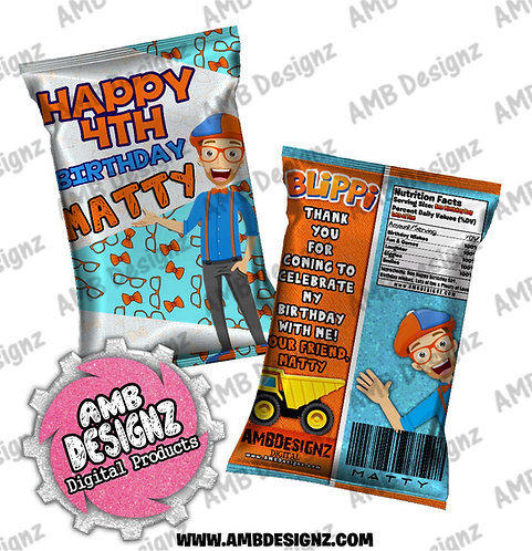 Blippi Chip Bag Favor - Blippi Party Supplies