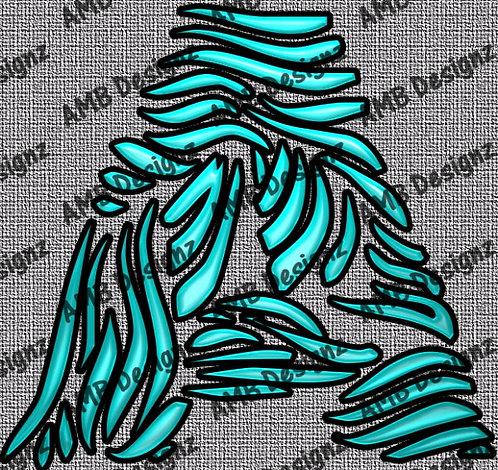 Zebra Black and Teal Font Letter Art Digital Scrapbooking