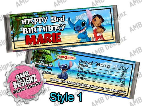 Lilo and Stitch - Candy Bar Wrapper, Lilo and Stitch Party Supplies