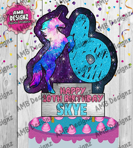 Galaxy Unicorn DIY Cake Topper Centerpiece - Galaxy Unicorn Party Supplies