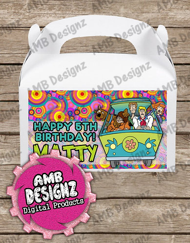 Scooby Doo Gable Box/Treat Box Label - Scooby Doo Party Supplies