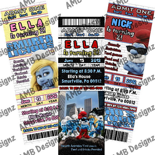 Smurfs Invitations