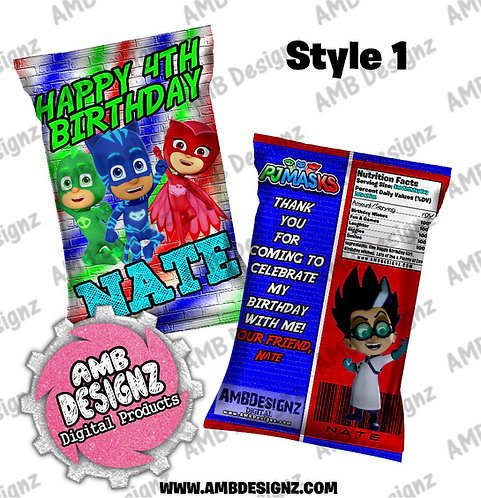 PJ Mask Chip Bag Favor - PJ Mask Party Supplies