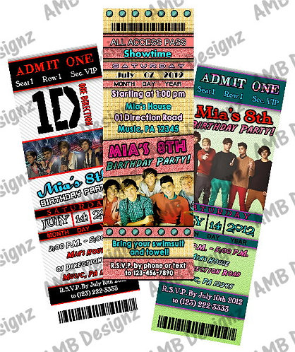 One Direction Ticket Style Custom Digital Invitation