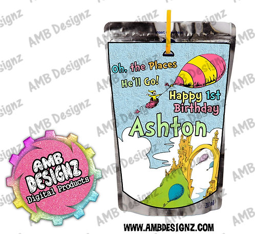 Oh, the Places You'll Go Capri-Sun Juice Pouch Label - Dr. Seuss Party Supplies