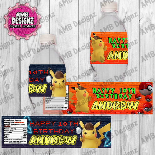 Pikachu Pokemon Water bottle wrappers - Pikachu Detective Party Supplies