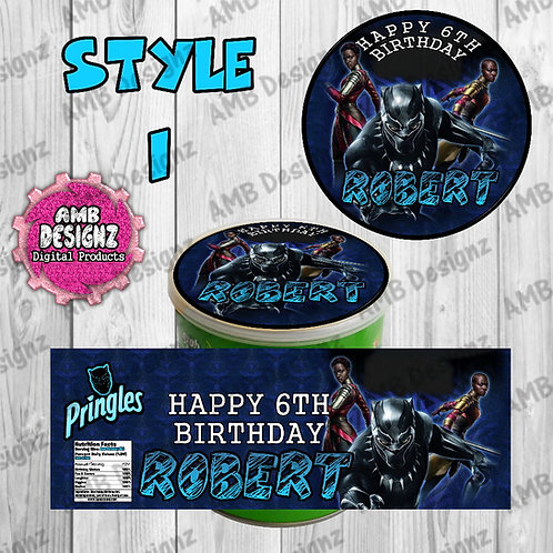 Black Panther Pringles Can Labels - Black Panther Party Supplies