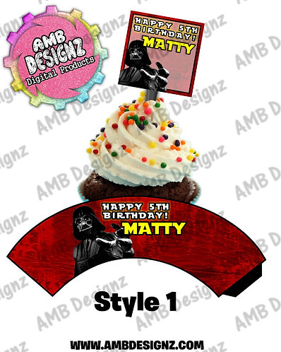 Star Wars Cupcake Topper and Star Wars Cupcake wrapper