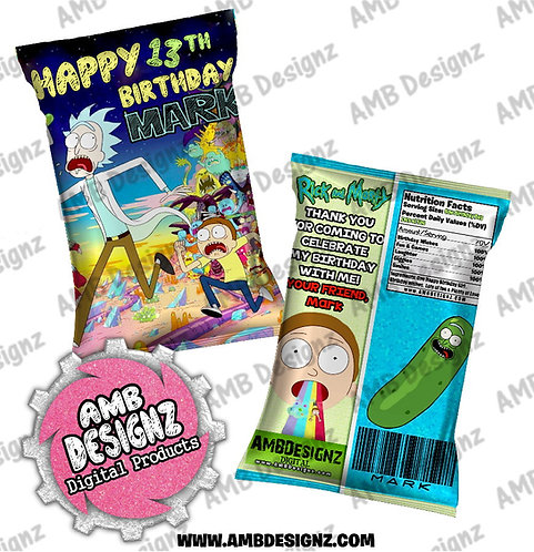 Rick and Morty Chip Bag Party Favor - Rick and Morty Party Supplies