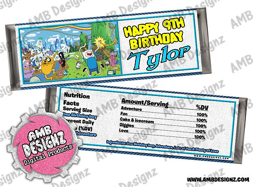 Adventure Time Candy Bar Wrapper - Adventure Time Party Supplies