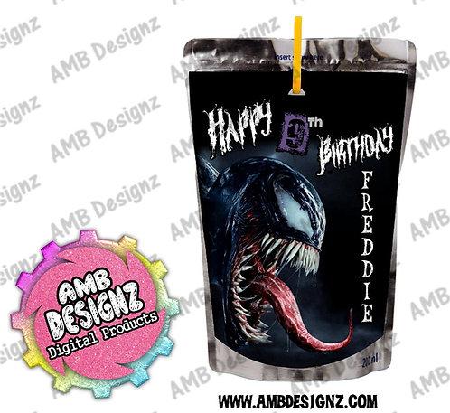 Venom Capri-Sun Juice Pouch Label - Venom Party Supplies