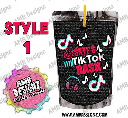 Tik Tok Capri-Sun Pouch Label - Tik Tok Party Supplies