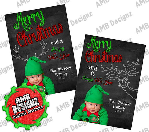 Chalkboard Photo Christmas Greeting Card - Photo Christmas cards