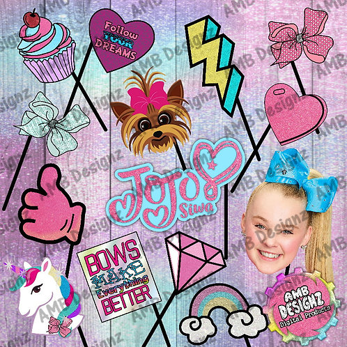 Jojo Siwa Photo Booth Props Party Decorations