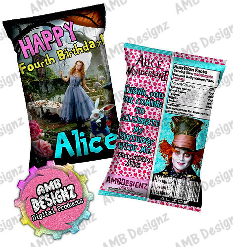 Alice in Wonderland Chip Bag Party Favors Party Supplies