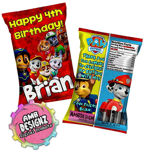 Paw Patrol Chip bag Party Favor