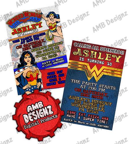 Wonder Women Invitations - Wonder Women Party Supplies