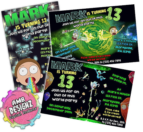 Rick and Morty Invitations Party Supplies