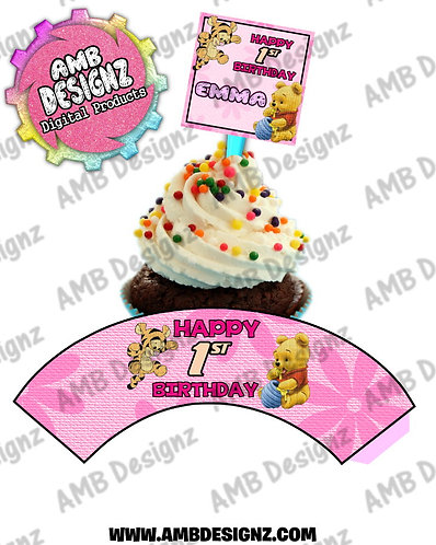 Baby Pooh Personalized Cupcake Topper and Cupcake wrapper set