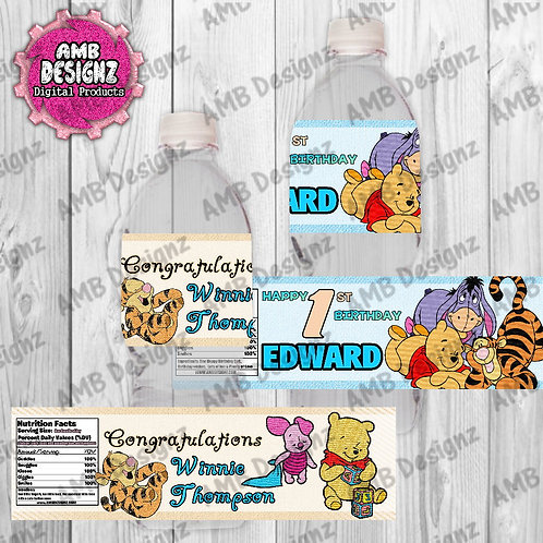 Winnie the Pooh water bottle wrappers - Winnie the Pooh Party Supplies