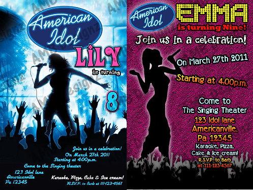 American Idol Custom Digital Invitation