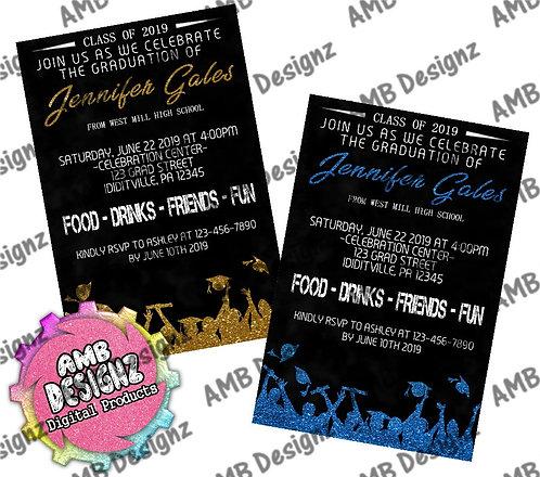 Glitter Graduates Graduation Invitations - Graduation Party Supplies