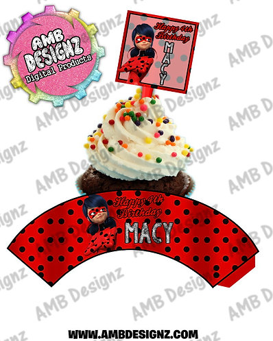 Miraculous Ladybug Cupcake Topper and Miraculous Ladybug Cupcake wrapper