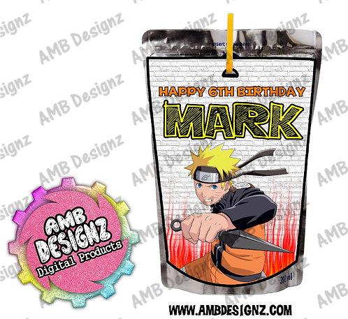 Naruto Capri-Sun Juice Pouch Label - Naruto Party Supplies