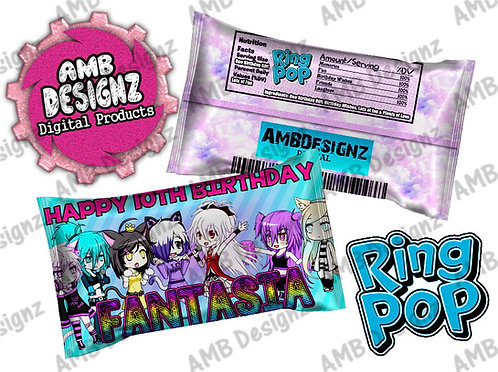 Gacha Life Ring Pop Label Party Supplies