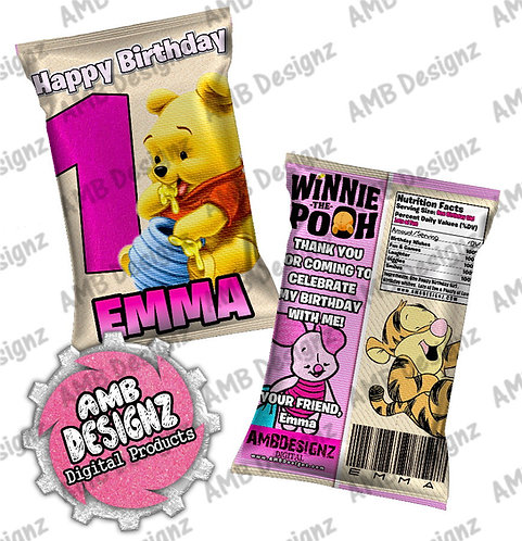 Winnie the Pooh Chip Bag Party Favor - Winnie the Pooh Party Supplies