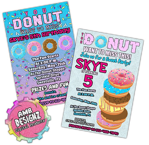 Donut Invitations Party Supplies