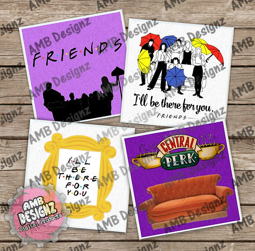 Friends Themed Tile Coaster Set