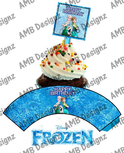 Disney's Frozen Cupcake wrap and Topper set  - INSTANT DOWNLOAD