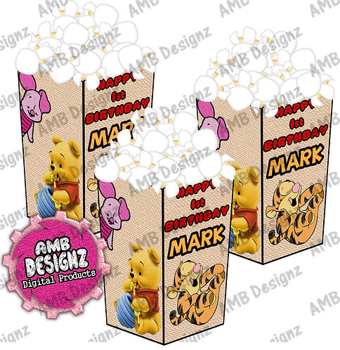 Winnie the Pooh Popcorn Box Party Favor - Winnie the Pooh Party Supplies