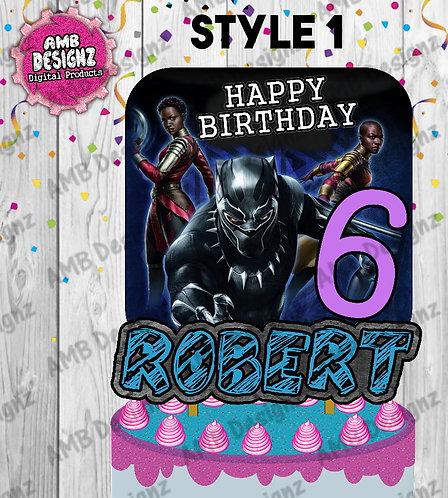Black Panther Cake Topper Centerpiece - Black Panther Party Supplies