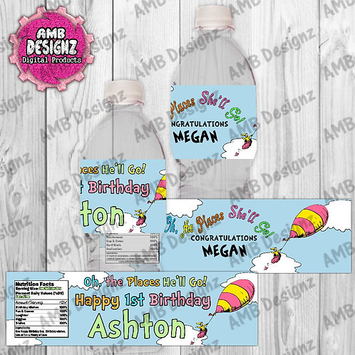 Oh, the Places You'll Go Water Bottle Wrap - the Places You'll Go Party Supplies