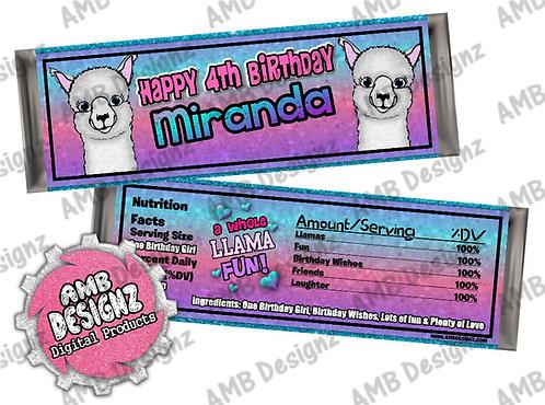 Llama Candy Bar Wrapper - Llama Party Supplies