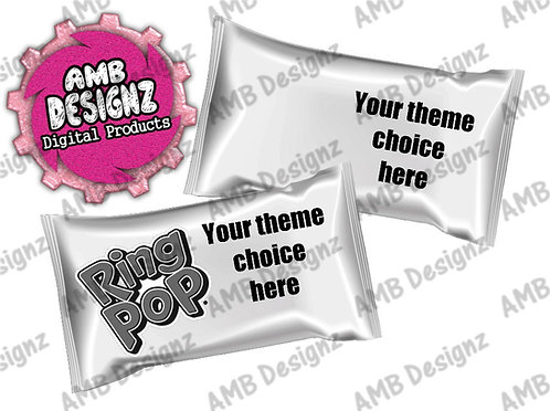 Custom Ring Pop Label Party Supplies