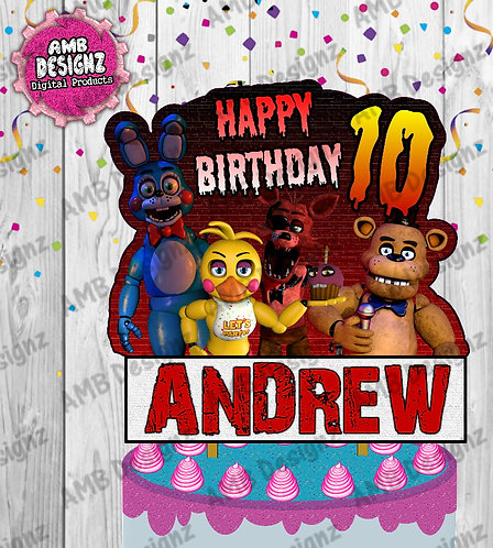 Five Nights at Freddy's (FNAF)  Cake Topper Centerpiece - FNAF Party Supplies