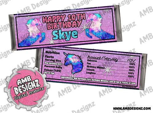 Galaxy Unicorn Candy Bar Wrapper - Galaxy Unicorn Party Supplies