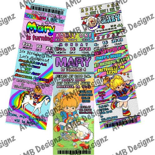 Rainbow Brite Invitations