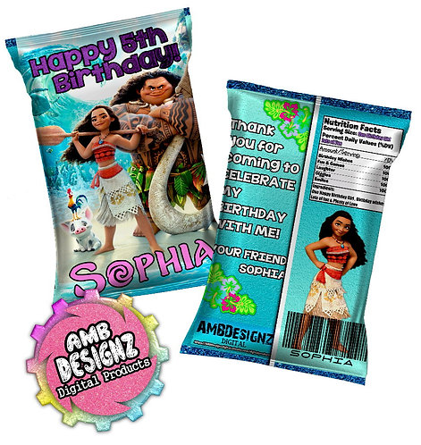 Moana chip bag Party Favors