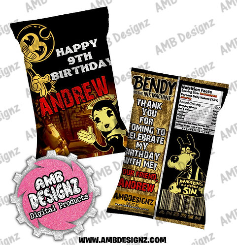 Bendy and the ink Machine Chip Bag Favor, Bendy & the ink Machine Party Supplies