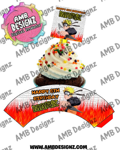 Naruto Personalized Cupcake Topper and Cupcake wrapper set
