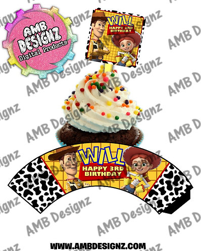 Toy Story Personalized Cupcake Topper and Cupcake wrapper set