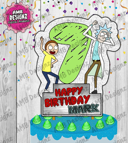 Rick and Morty DIY Cake Topper Centerpiece - Rick and Morty Party Supplies