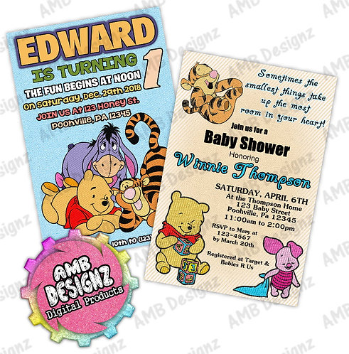 Winnie the Pooh Invitations - Winnie the Pooh Party Supplies